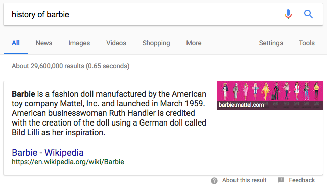 Example of a Paragraph Featured Snippet
