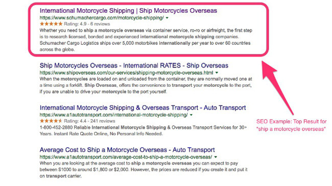 SEO example on a SERP