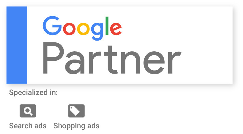 WCN Digital Google Partner Badge, Specialized in Search ads and Shopping ads